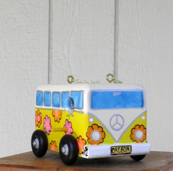 Our Birdhouse Design of a VW  Van Bird House, Yellow with Flower Power Hippie Van