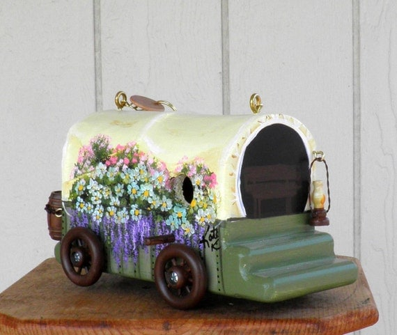 Bird House, Covered Wagon, Handcrafted, Hand Carved, Hand Painted with lots of Flowers, Made in Oregon, USA