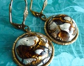 Earrings Vintage Glass Molten Toffee Moons