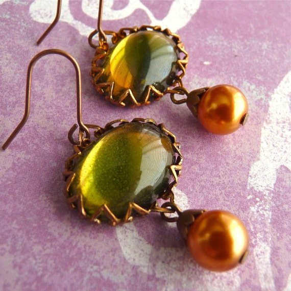 Earrings Vintage Glass On Golden Pond