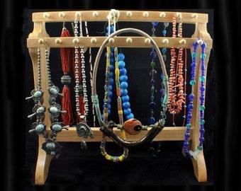 Oak Standing Necklace Holder Necklace Display Necklace Organizer  Necklace Storage Holds 40 or More