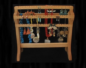 Oak Standing Combo Necklace Holder Necklace Storage Earring Holder Earring Display Earring Storage Organizer
