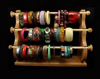 Standing Bracelet Holder Organizer Storage Display Oak