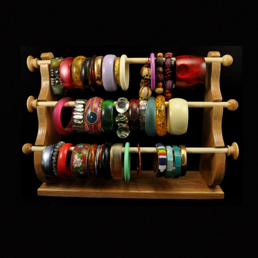Standing bracelet holder organizer storage by spiritranchcreations - Standing Bracelet Holder Organizer Storage Display Oak