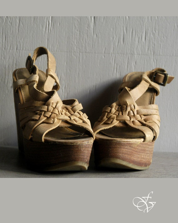 leather woven platform wedges size 6 1/2