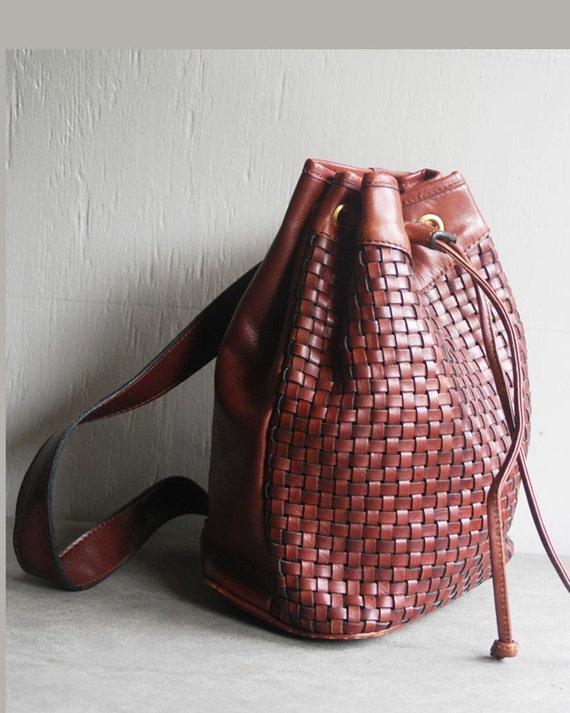 vintage leather backpack woven bag