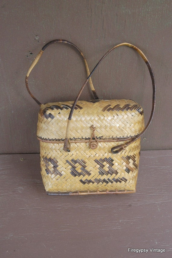 ON SALE vintage bamboo basket box purse