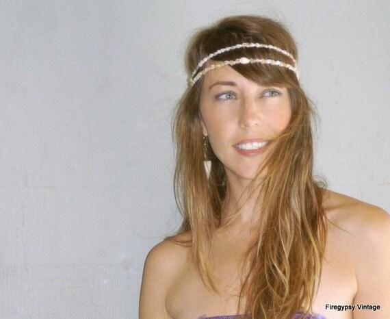 seashell headband / flapper wedding Hawaiian ocean head piece / made to order