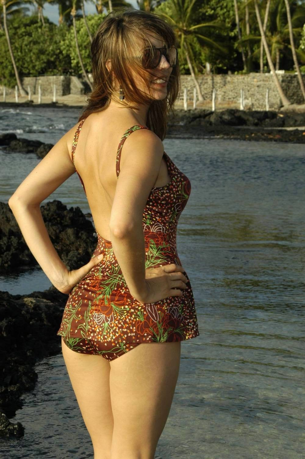 Vintage 50s Style Bathing Suit With Floral By Firegypsyvintage