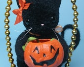 Midnight the black  Halloween Kitty Cat Kitten holding her Jack O' Lantern Treat Bucket