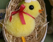 Little Woolen Chick in Vintage German Paper Mache Easter Egg