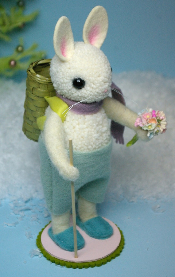 Vintage Inspired Woolen Pom-Pom Bunny Rabbit
