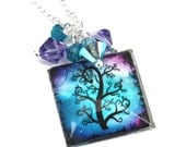 Aqua and Pink Square Glass Tile Dome Tree of Life Pendant with Cluster of Swarovski Crystals