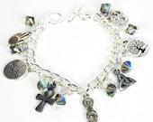 Ancient Symbol Silver Charm Bracelet with Black Diamond  Swarovski Crystals