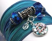 Hand Dyed Silk Wrap Bracelet - Blue Reef with 12 Step Recovery Unity Charm with Sapphire Swarovski Crystals - anjalicreations