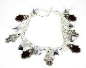 Silver Chain Bracelet With Chianti Enameled Hamsa Charms and Comet Swarovski Crystals