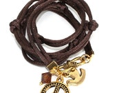 Chocolate Brown Satin Cord Wrap Bracelet with Gold Peace Symbol, Peace Dove, and Smoky Topaz CrystalDiamond Swarovski Crystal - anjalicreations