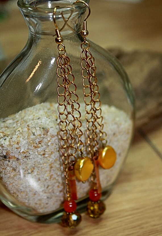 Pearl Chain Dangle Earrings with Carnelian and Crystal-AUTUMN WATERFALLS