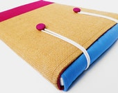 Laptop sleeve for 13 inch Macbook - Hessian, pale blue and pink canvas