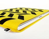 "70% OFF CLEARANCE SALE: 13"" MacBook/MacBook Air sleeve - Original hand printed herringbone design on yellow wool felt"