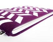 """70% OFF CLEARANCE SALE: 13"""" Macbook/MacBook Air sleeve - Original hand printed herringbone design on aubergine wool felt"""