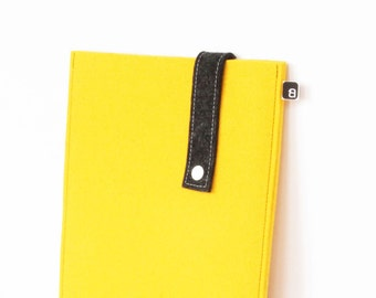 70% OFF CLEARANCE: iPad case - Yellow & charcoal wool felt with white snap - for iPad 1 / 2 / 3 / 4