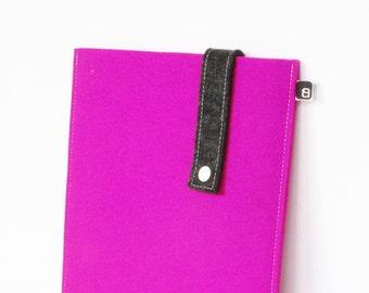 iPad case: Fuchsia and charcoal wool felt with white snap - for iPad 1 / iPad 2 / iPad 3