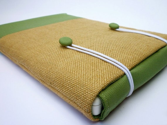 Laptop sleeve for 13 inch Macbook - Hessian and olive green canvas