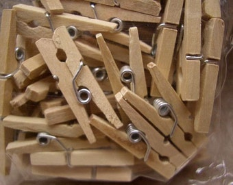 Mini Natural Wood Clothespin Clips (set of 50)