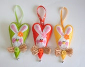 Set of bunnies in the hearts