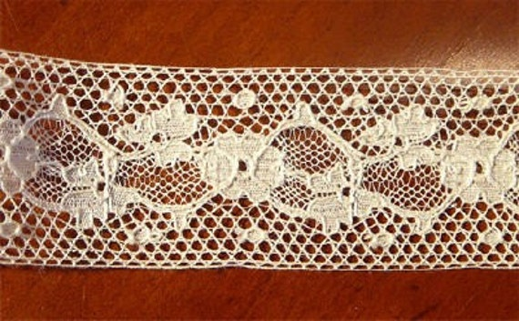 56 inches vintage white French lace dress trim with exquisite details