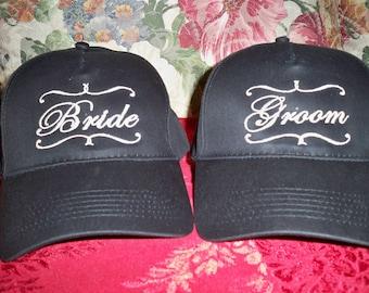 Bride and Groom Cap Set
