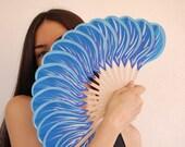 Blue fire. Fan hand painted original. A