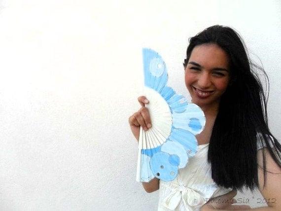 Hand-painted fan. Trousciel Blue. A