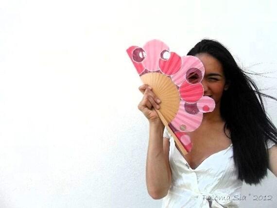 Hand-painted fan. Pink Trousciel. W