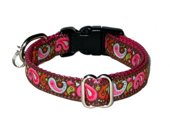 Paisley Pink Small Dog Collar / Cute Small Dog Collar 1/2""