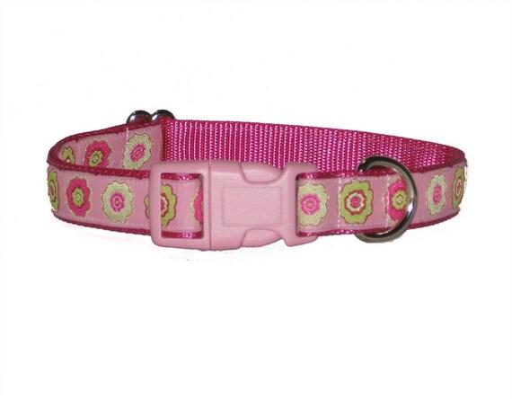SALE - Pink Floral Dog Collar - Small Dog Collar