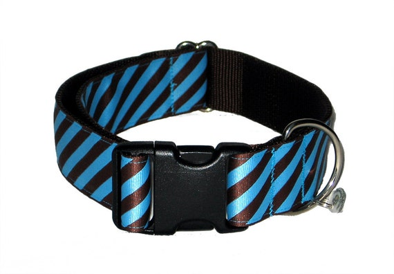 """Turquoise and Brown Striped Wide Dog Collar Dad's Tie 1.5"""""""