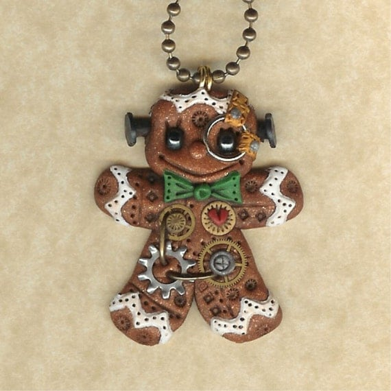 Steampunk Christmas Gingerbread Man Robot Jewelry Necklace