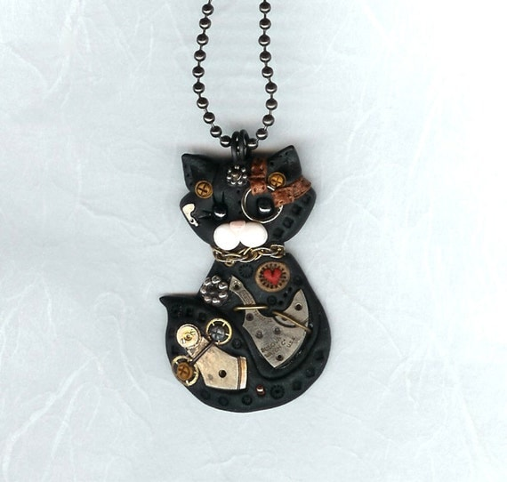 Steampunk Black Kitty Cat Necklace Polymer Clay Jewelry