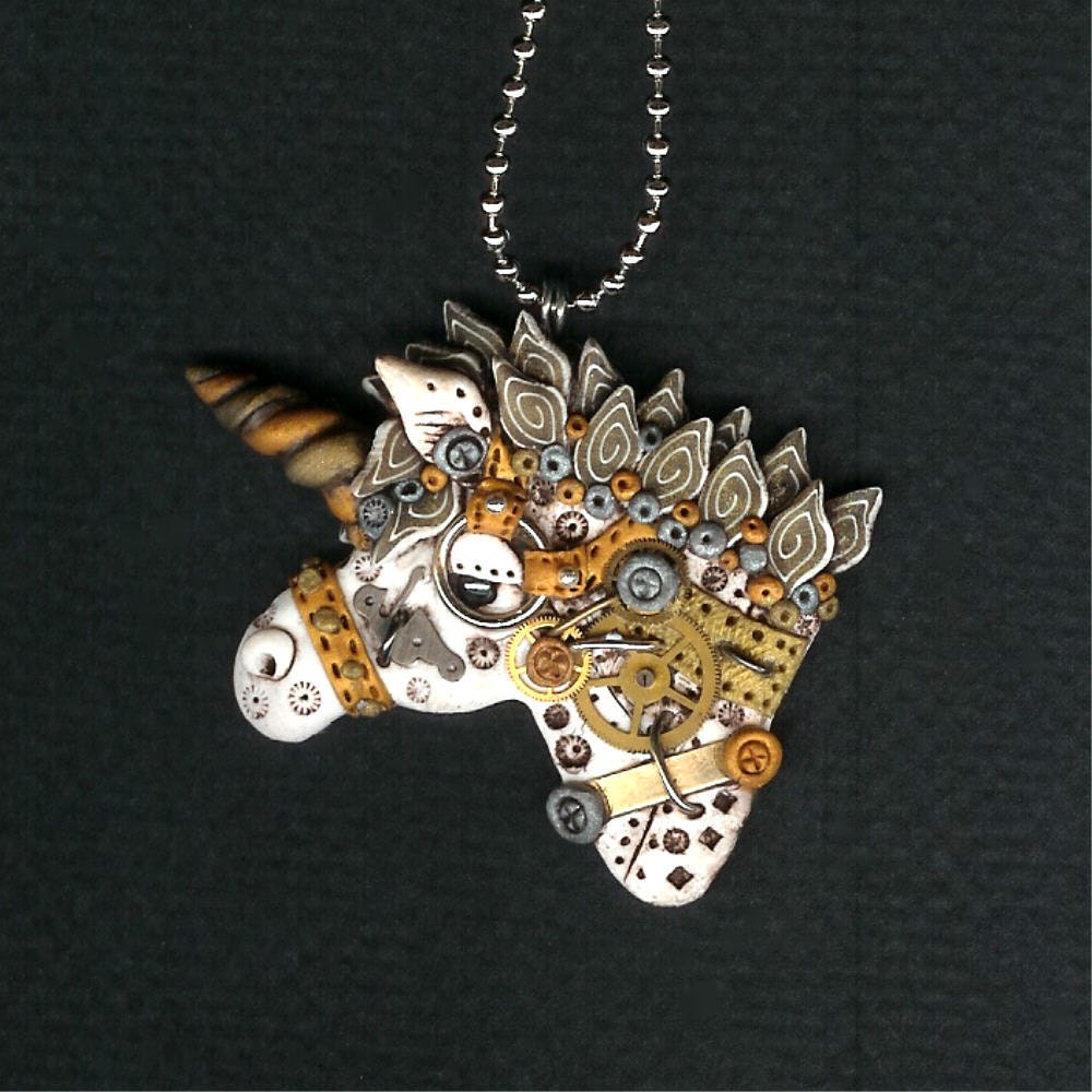 Polymer Clay Charm Bracelet: Steampunk Unicorn Necklace Polymer Clay Jewelry By Freeheart1