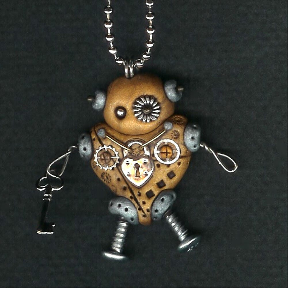 Valentines Day Steampunk Robot Heart Necklace Polymer Clay