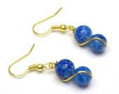 Blue and Gold Wire Wrapped Dangle Earrings