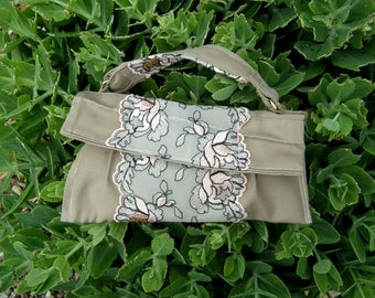 Sale, Recycled Khaki & Lace Purse