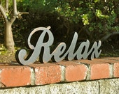 RELAX - Handmade Wood Sign for Living Room Bedroom Bathroom Spa Home Wedding Birthday Gift Shabby Chic Rustic Primitive