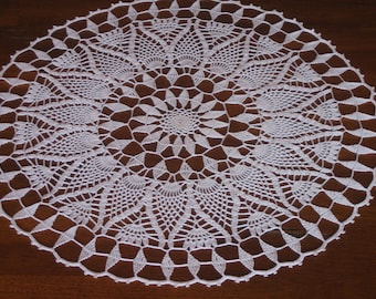 Hand crocheted doily/table center, round, beautiful, new, ready to mail, made by Demet