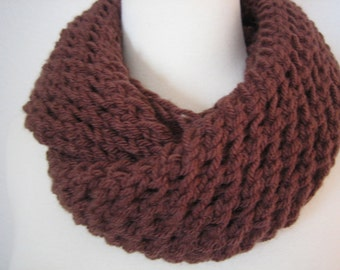 Chocolate Brown, Hand Knitted Scarf,Holiday Accessories,  New, Turkishteam