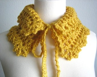 Mustard neckwarmer, hand crocheted,  New, winter fashion, ready to ship
