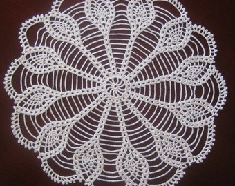Hand crocheted doily, new, white