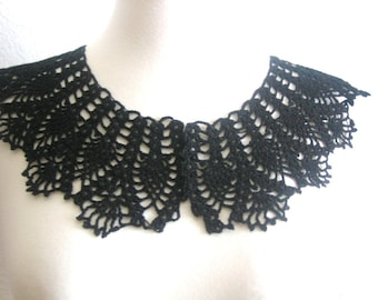Black crochet collar/necklace with pineapple design necklace, steampunk